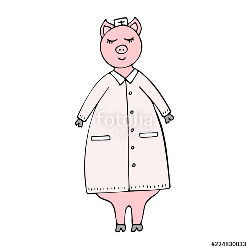 500x500 Vector Hand Drawn Funny Pig Doctor In A Lab Coat. Stock Image And