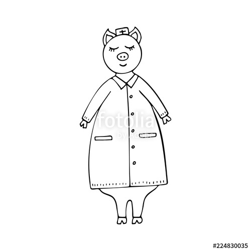 500x500 Vector Monochrome Hand Drawn Funny Pig Doctor In A Lab Coat