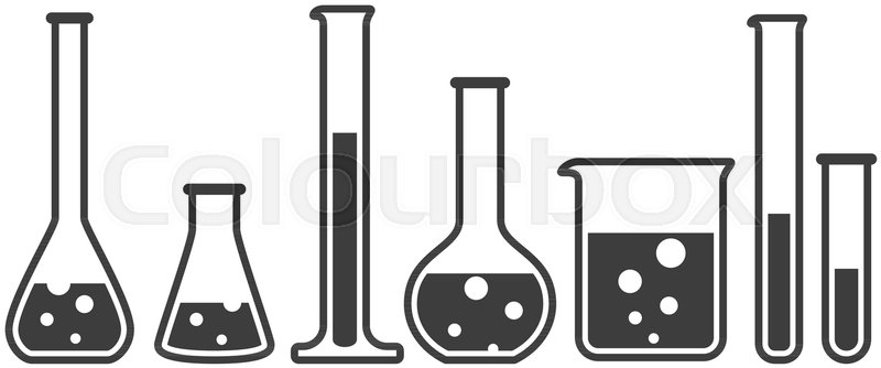800x334 Laboratory Glassware Instruments Icons Set. Equipment For Chemical