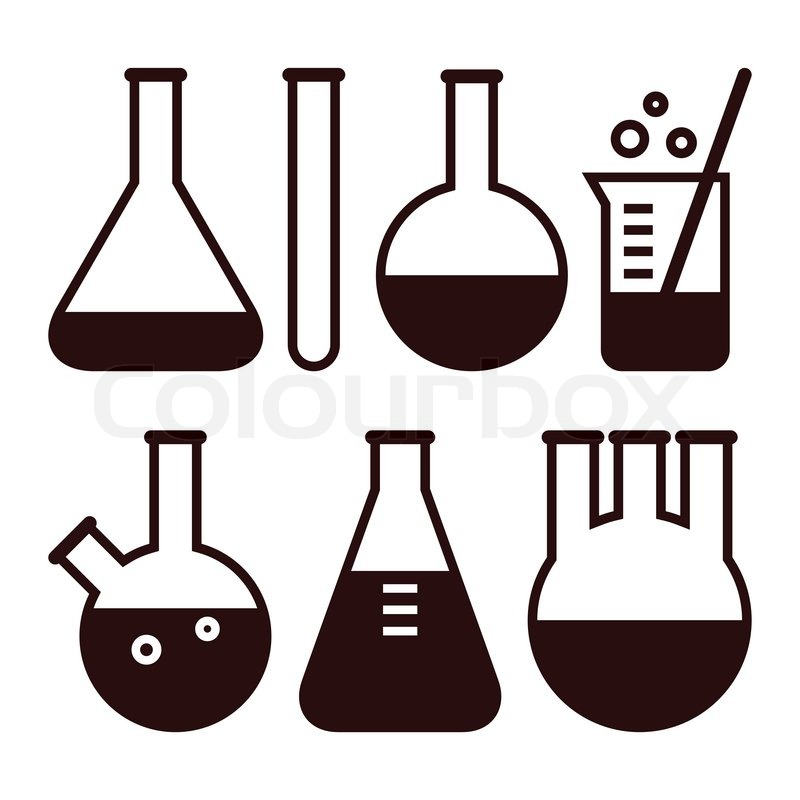 800x800 Laboratory Glassware Isolated On White Background Stock Vector