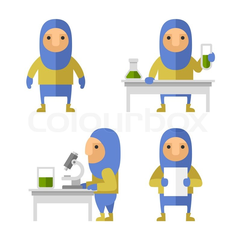 800x800 Set Of Scientist Characters In Lab. Vector Flat Style Illustration