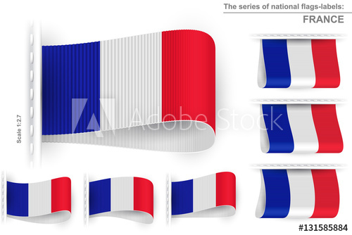 500x334 National State Flag Of France Sewn Clothing Label Tag Vector