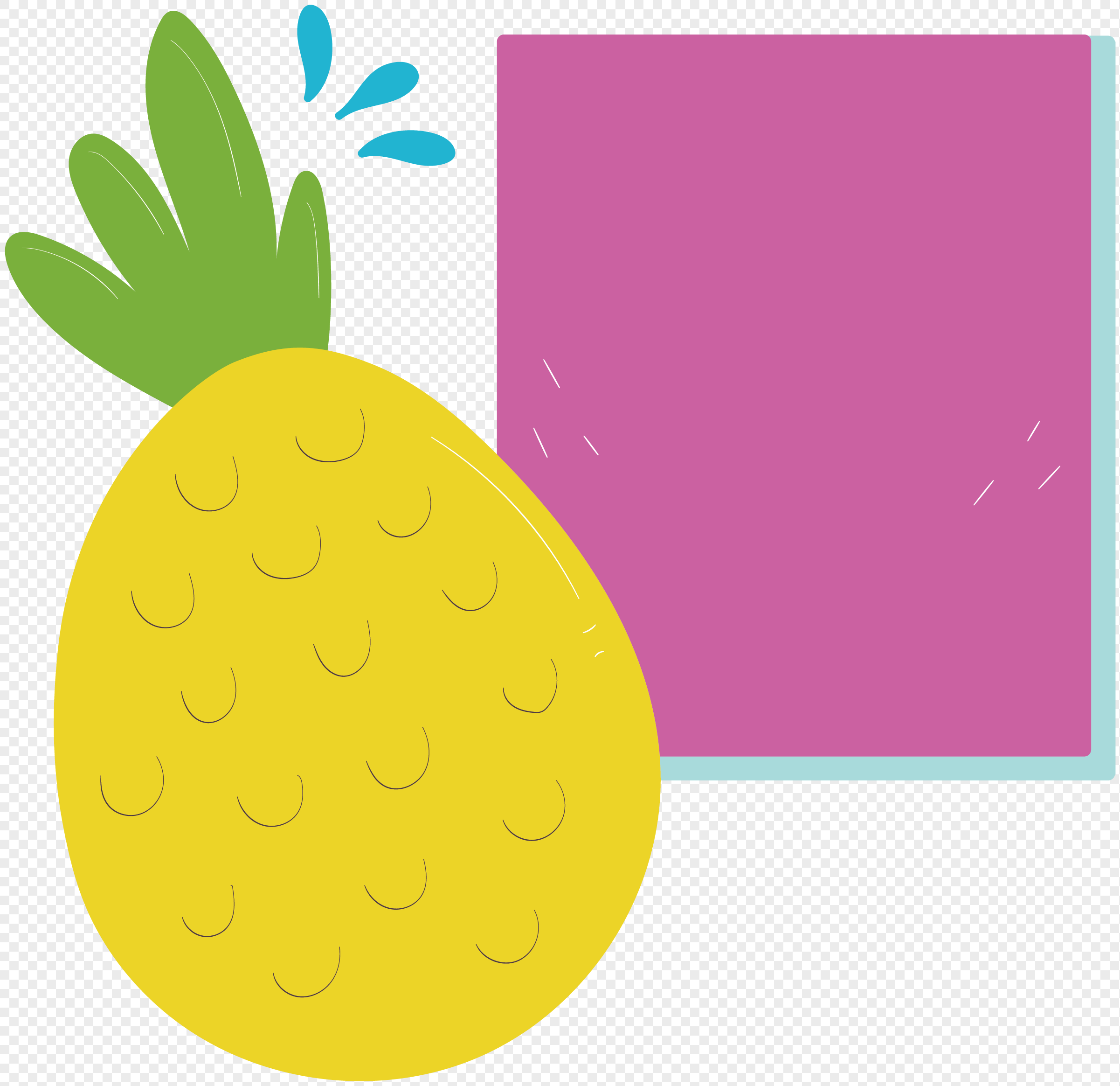 2402x2328 Pineapple Label Vector Material Png Image Picture Free Download