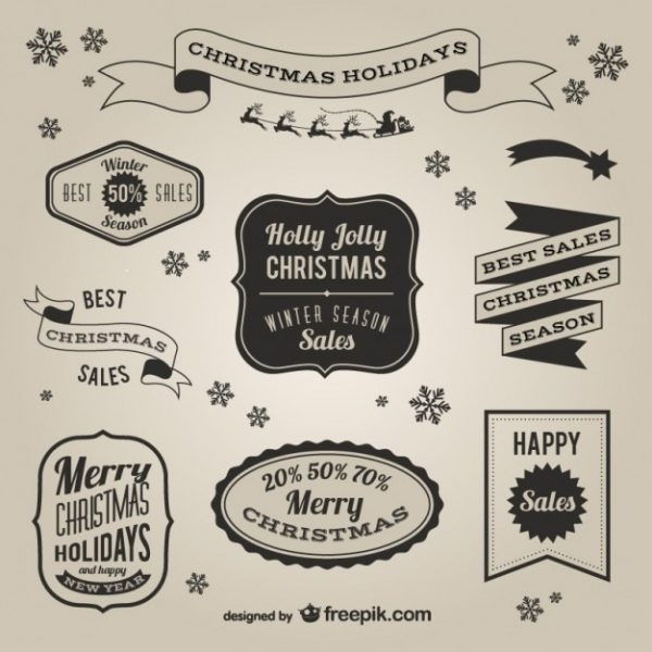 600x600 Retro Style Christmas Sales Labels Vector Free Download Intended