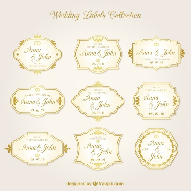 626x626 Ai] Golden Wedding Label Collection In Retro Style Vector Free