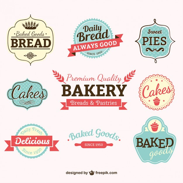 626x626 Vintage Bakery Labels Vector Free Download