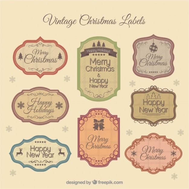 626x626 Vintage Christmas Labels Vector Free Download Shabby Chic