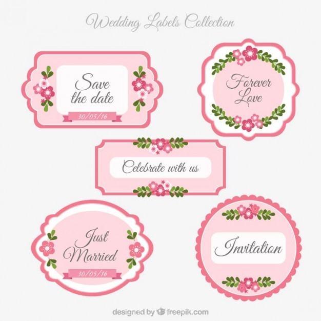626x626 Ai] Pink Wedding Labels Vector Free Download