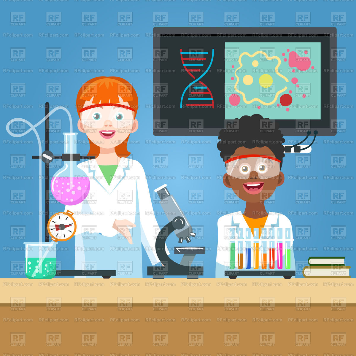 1200x1200 Girl Scientist And Student In Chemistry Laboratory Vector Image