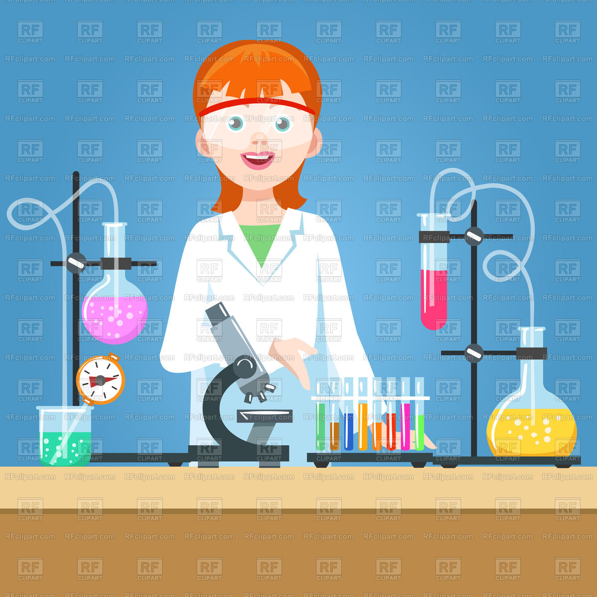 1200x1200 Girl Scientist In Laboratory Vector Image Vector Artwork Of