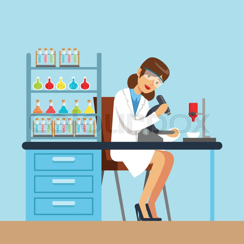 800x800 Scientist Woman Working Research In Chemical Lab, Interior Of