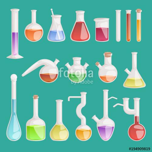 500x500 Chemical Laboratory Vector Lab Flask Glassware Tube Liquid