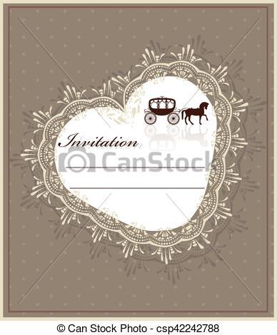 388x470 Lace Heart Shape Card. Lace Heart Shape Invitation Card. Vector.