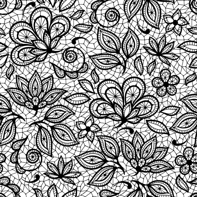 800x800 Old Lace Seamless Pattern, Ornamental Flowers. Vector Texture