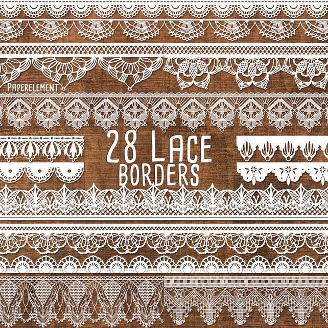 642x642 Lace Border Clipart Pack Lace Border Clip Art Lace Trim Etsy