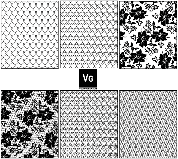 600x535 Lace And Mesh Vector Pattern Swatches 123freevectors