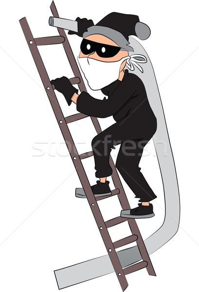 409x600 Vector Of Thief With Pipe On Ladder. Vector Illustration Patrick