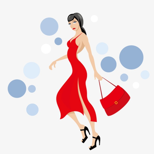 650x650 Fashion Lady Vector, Red Dress, Red Backpack, Ms. Long Png And
