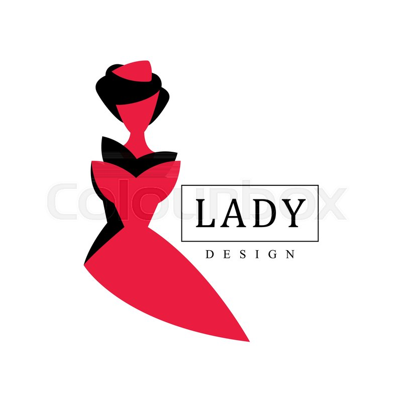 800x800 Lady Design Logo, Red And Black Fashion And Beauty Emblem With