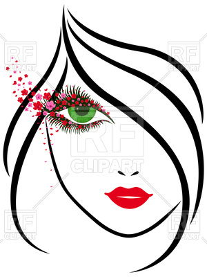 300x400 Outline Portrait Of Young Beautiful Lady Vector Image Vector