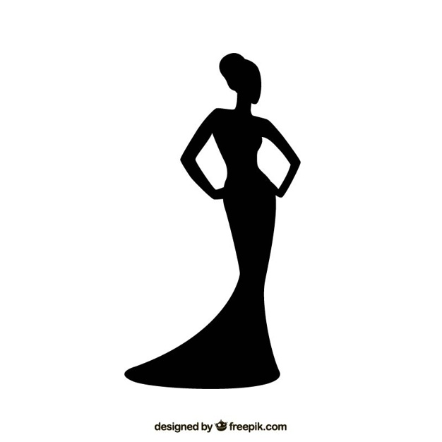 626x626 Woman Silhouette With Elegant Dress Vector Premium Download
