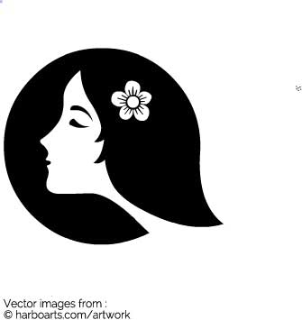 335x355 Download Lady Face With Flower In Circle Silhouette
