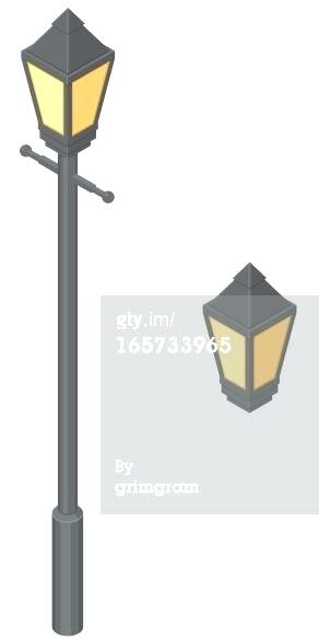 292x585 Old Fashioned Lamp Post Vector Art Isometric