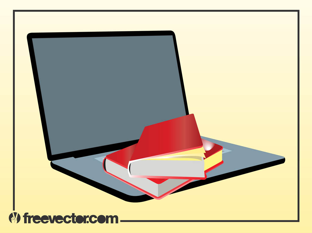 1024x765 Books And Laptop Vector Vector Art Amp Graphics