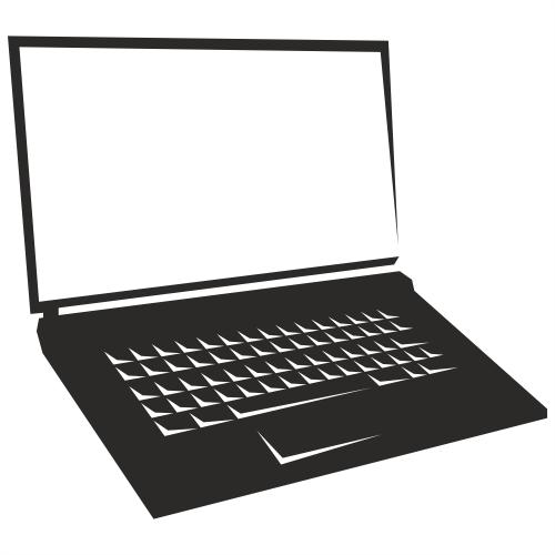 500x500 Free Vectors Blank Screen Notebook Laptop Silhouette Free Vector