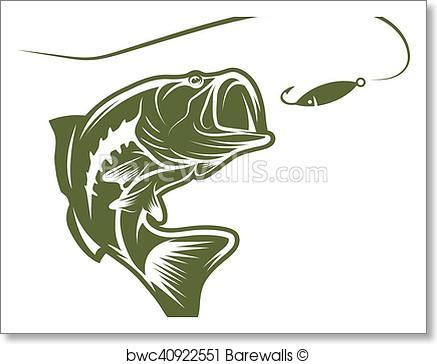 437x364 Art Print Of Largemouth Bass And Lure Vector Design Template