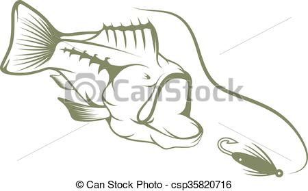 450x279 Largemouth Bass And Lure Vector Design Template.