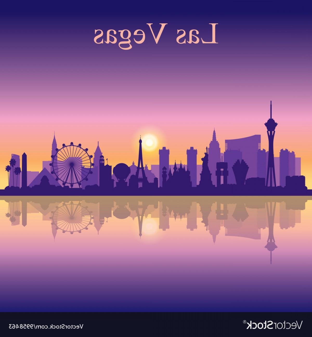 1200x1296 Las Vegas Skyline Silhouette On Sunset Background Vector Sohadacouri