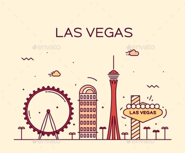 590x489 Las Vegas Skyline Vector Illustration Linear By Gropgrop