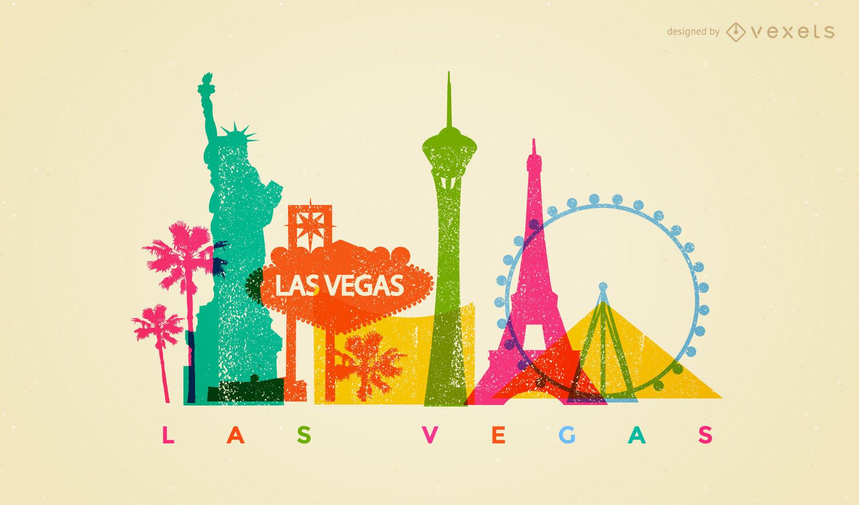 1700x1000 Las Vegas Colorful Skyline Design