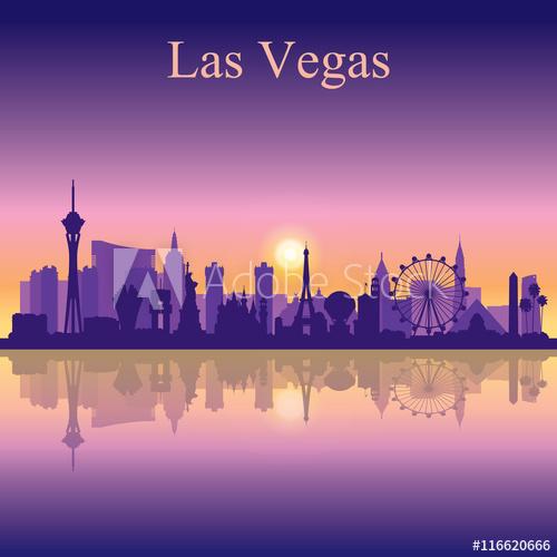 500x500 Las Vegas Skyline Silhouette On Sunset Background