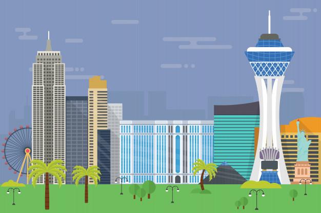 626x416 Resort City Las Vegas Skyline Illustration Vector Premium Download