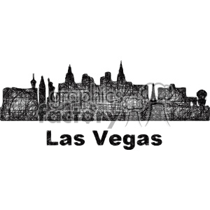 300x300 Royalty Free Black And White City Skyline Vector Clipart Usa Las