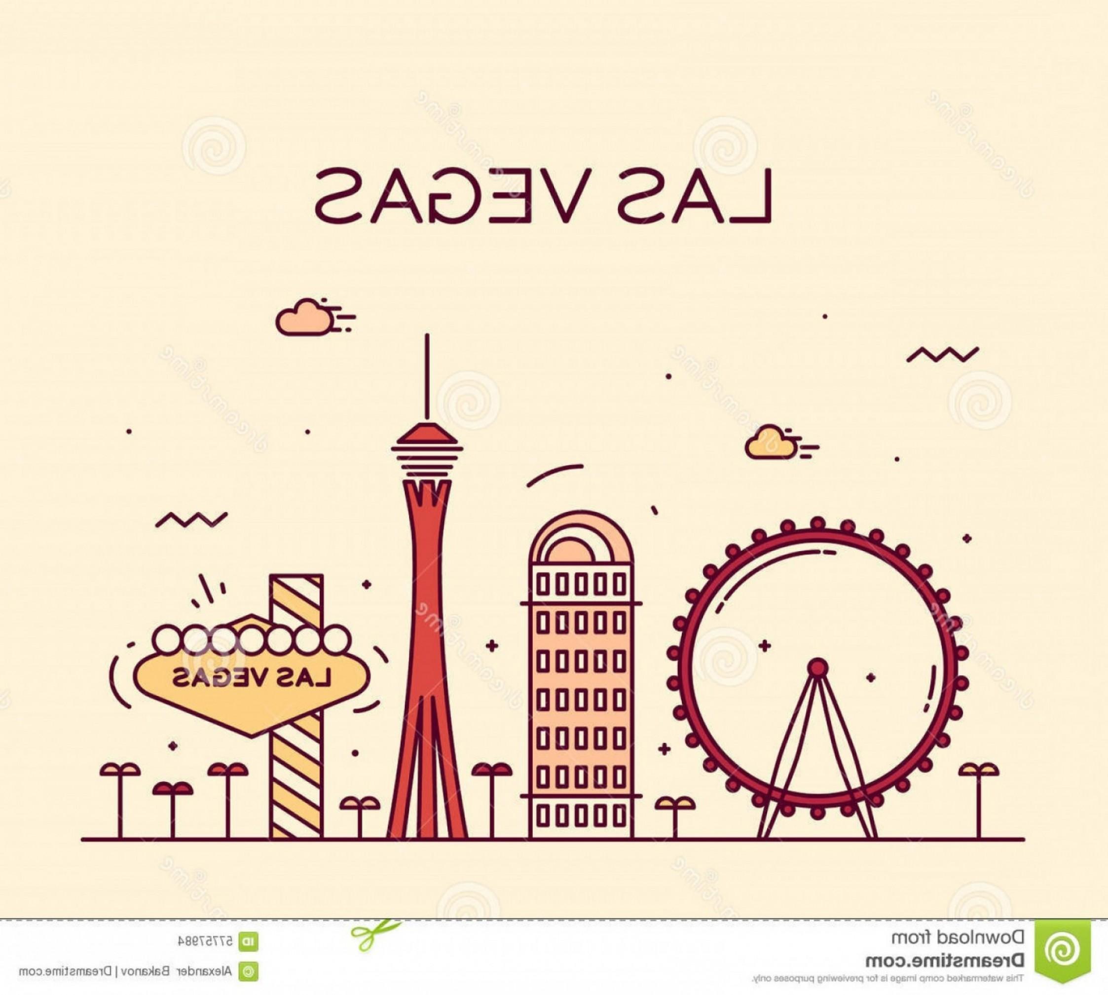 2246x2017 Stock Photo Las Vegas Skyline Vector Illustration Linear Big City
