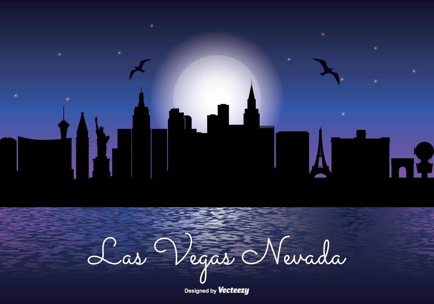 1400x980 Las Vegas Night Skyline Illustration