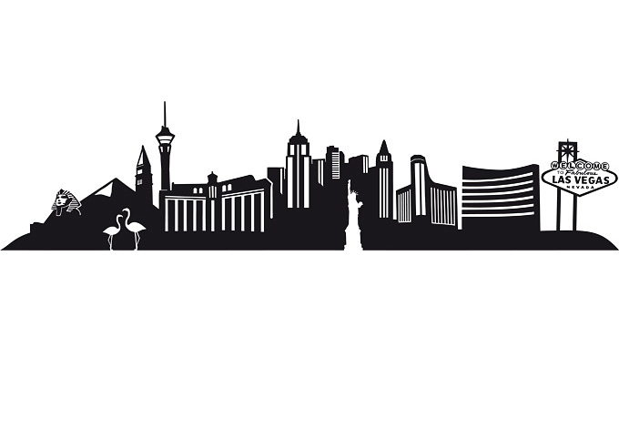 680x472 Las Vegas Skyline Vector Free Las Vegas Skyline Wall Sticker