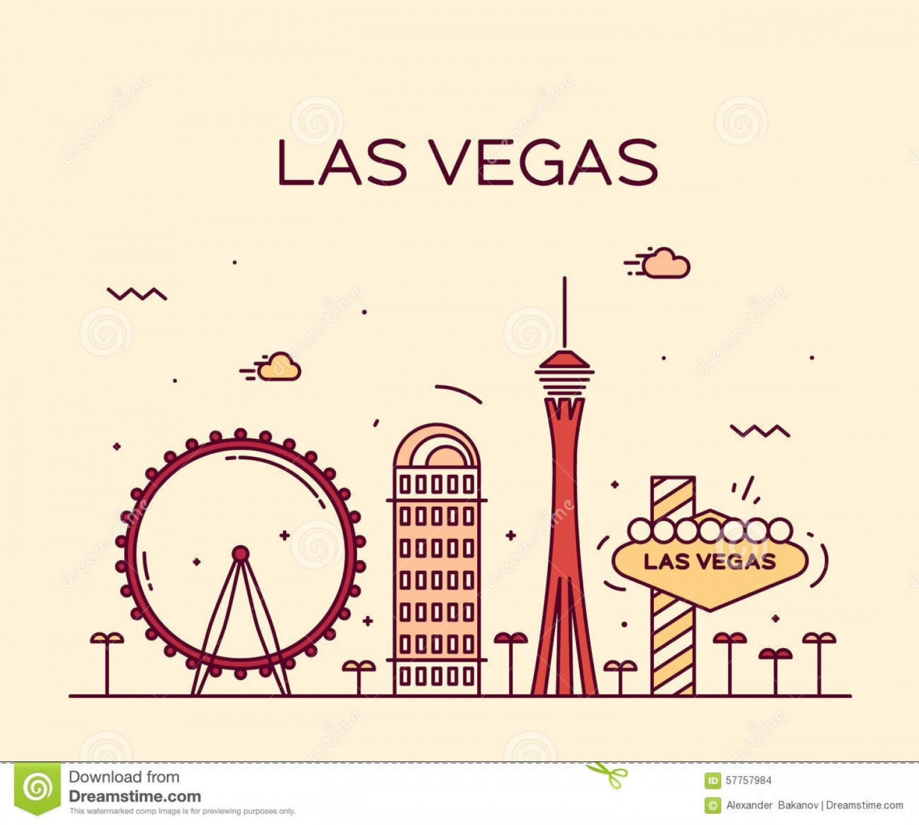1872x1681 Stock Photo Las Vegas Skyline Vector Illustration Linear Big City