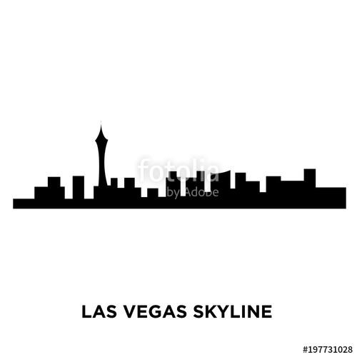 500x500 Las Vegas Skyline Silhouette On White Background, Vector