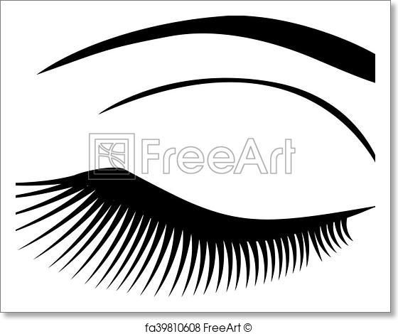 560x470 Free Art Print Of Eye Long Lashes. Vector Eye With Long Lashes