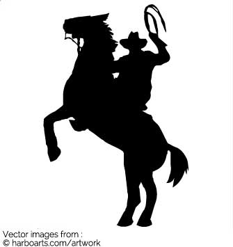 335x355 Download Cowboy On Rearing Horse With A Lasso