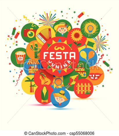 411x470 Festa Junina Village Festival In Latin America. Icons Set In