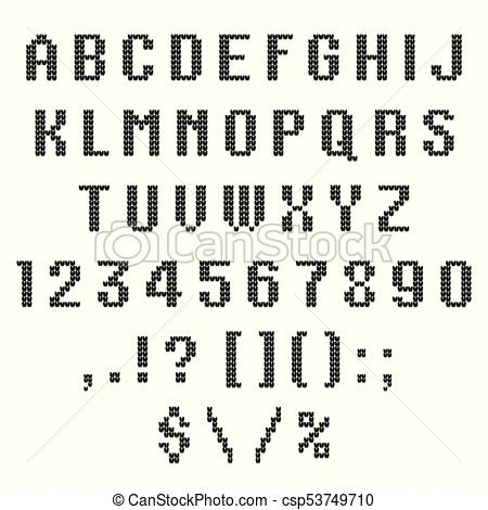 450x470 A Knitted Vector Alphabet. Latin Letters., Numbers, Punctuations