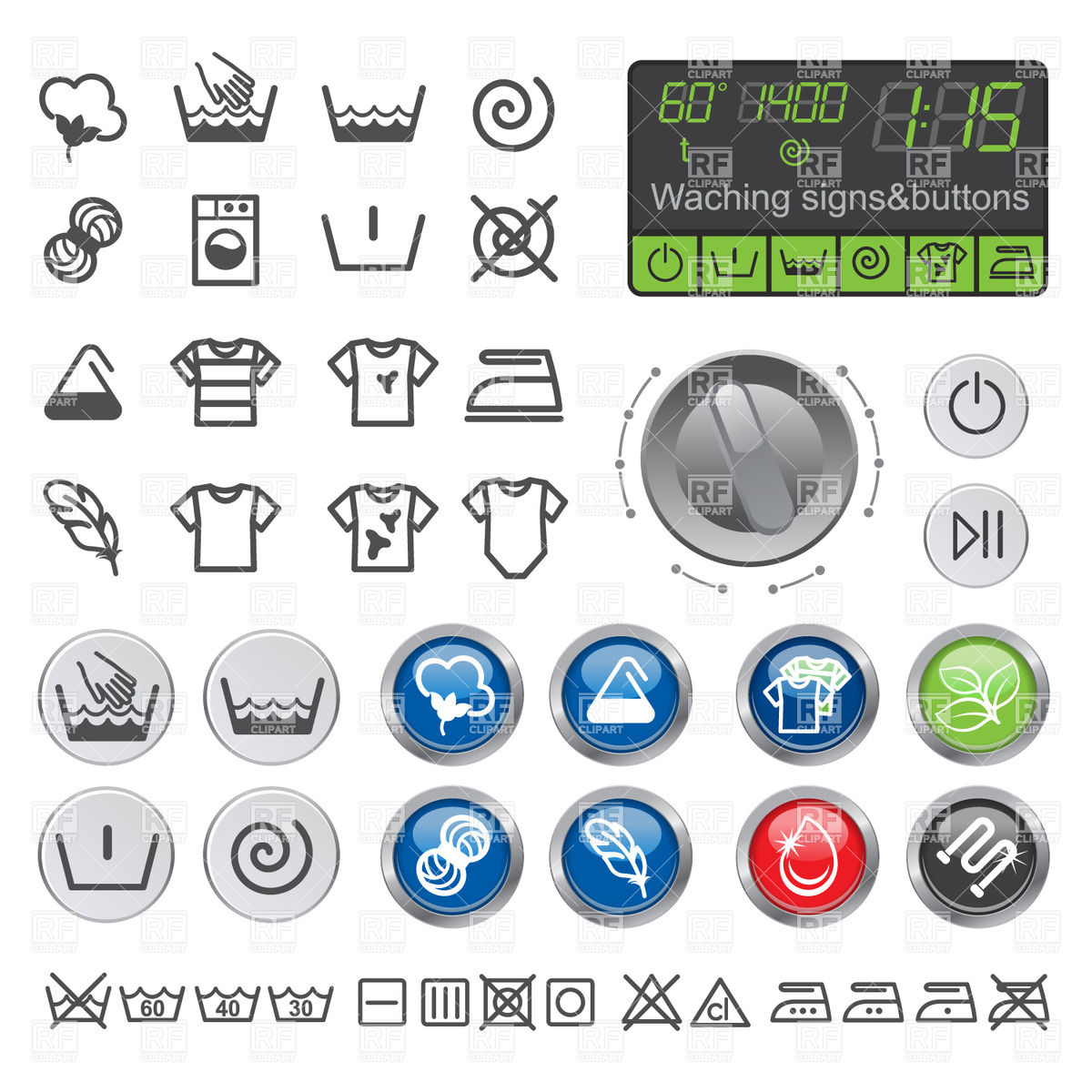 1200x1200 Signs And Buttons Of Washing Machine Control Panel