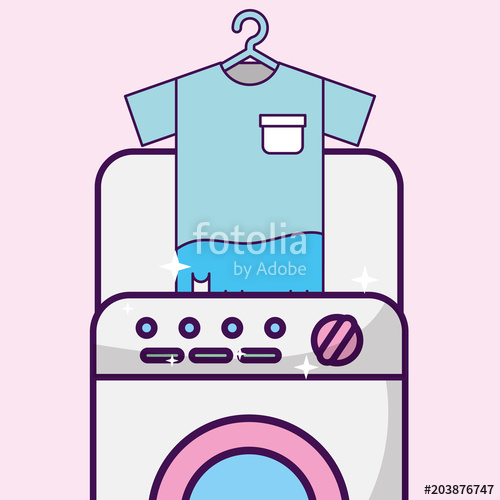 500x500 Laundry Cleaning T Shirt In Washing Machine Vector Illustration