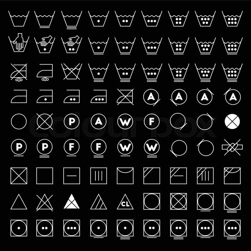 800x800 Laundry Symbols Line Design. Washing, Ironing, Bleaching, Drying