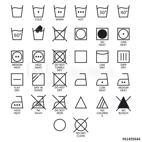 500x500 Laundry Symbols. Vector.